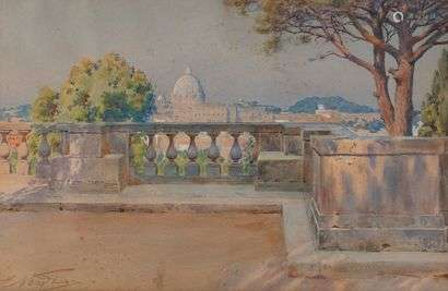 ENRICO NARDI (1864-1947)View on the dome of Saint Peter's from the park of the Villa BorgheseWatercolour, signed lower left.34 x 52 cm