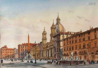 Enrico NARDI (1864-1947)View of Rome, Piazza NavonaPen and watercolor, signed lower left.29 x 41,5 cm