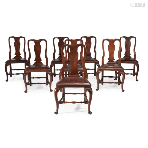 Set of eight Queen Anne carved mahogany side chairs,