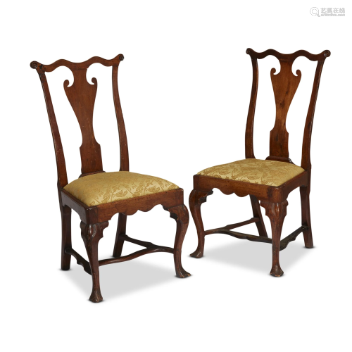 Pair of Queen Anne walnut side chairs, Attribute…