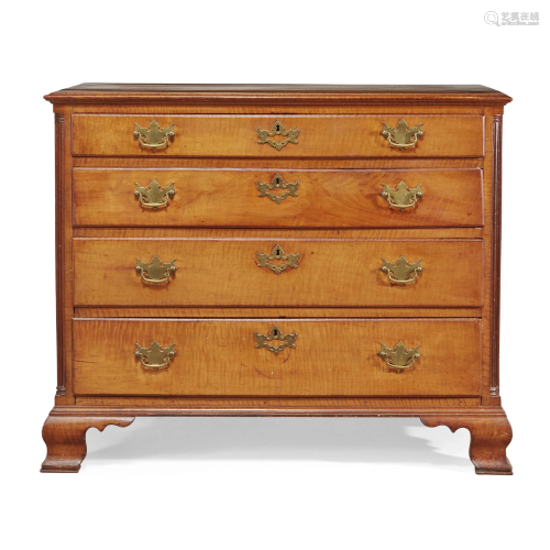 Chippendale figured maple chest of drawers,