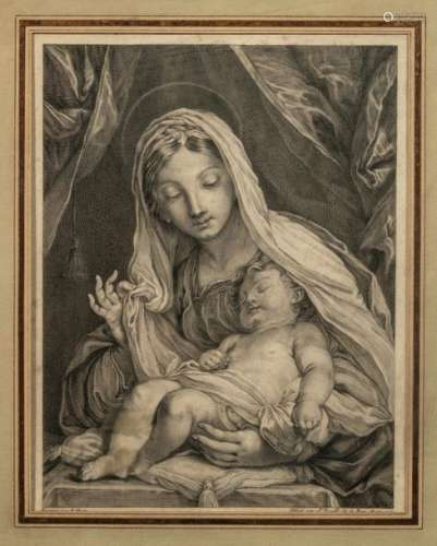Jean DAULLE (1703 1763) Virgin and child after a d…