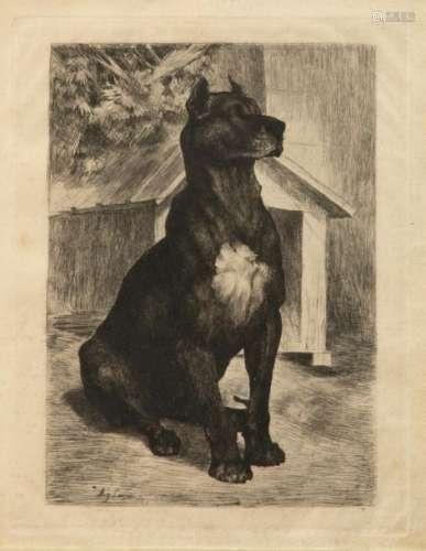 Auguste LANCON (1836 1887) Sitting Dog Engraving s…