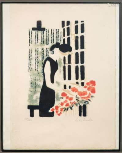 André BRASSILIER (1929) Woman with a bunch of flow…