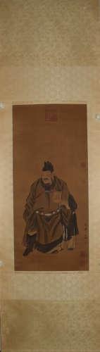 A Chinese Figure Painting Silk Scroll, Zhang Wo Mark