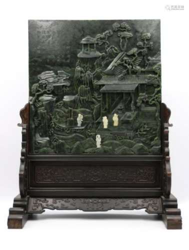 A CHINESE JASPER SCREEN