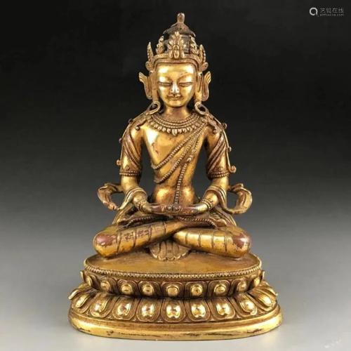 Qing dynasty golden bronze Buddha H 10.5 cm