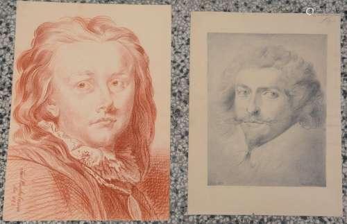 French School, Two portrait drawings of gentlemen;…