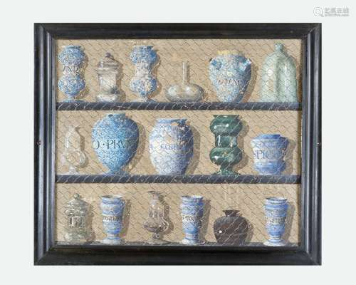 Trompe l'oeil of an Italian apothecary, with descr…