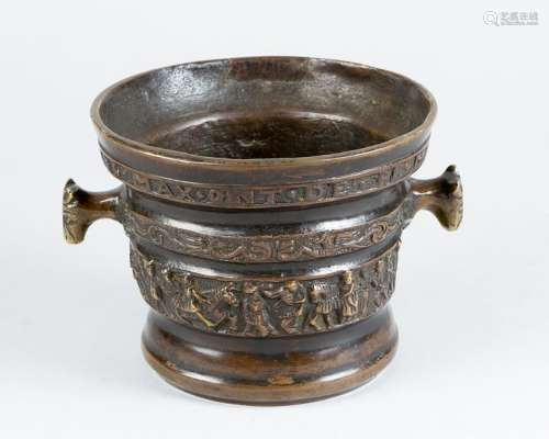 Bronze mortar, in round shape with two hand grips …