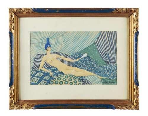 Georges LEPAPE (1887-1971)  - Nu en bleu  - Aquarelle sur papier.  - Signé en bas à [...]