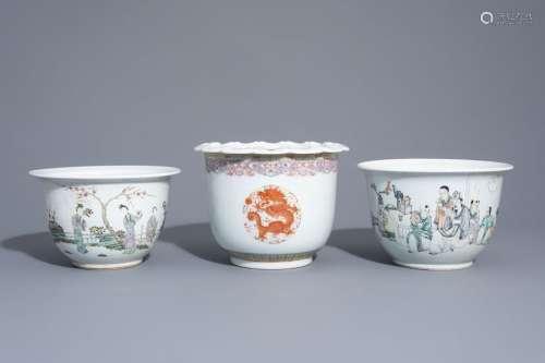 Three Chinese famille rose and qianjiang cai jardi...