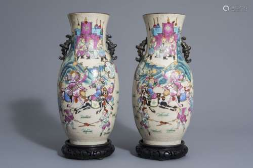 A pair of Chinese Nanking crackle glazed famille r...