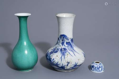 A Chinese blue and white crackle glazed vase, a mo...