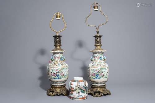 A pair of Chinese Canton famille rose vases mounte...