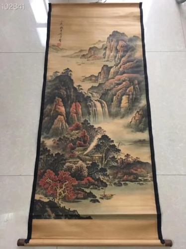 Chinese Ink Color Scroll Painting