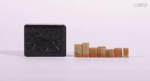 Set of Seven Shoushan Stone Seal