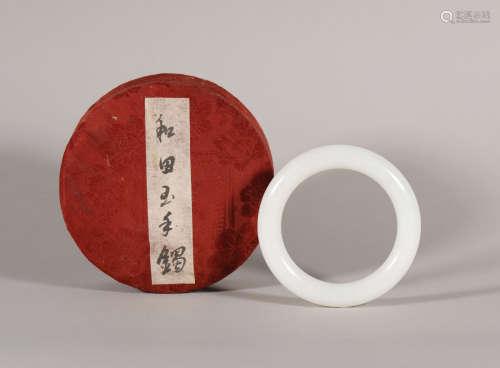 Qing Dynasty - Carved Hetian Jade Bracelet