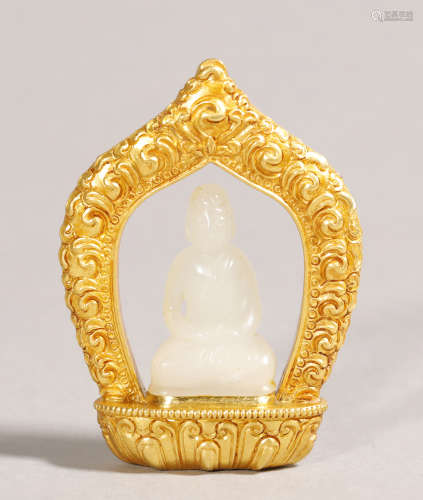 Qing Dynasty-Hetian Jade Buddha Statue w/ Pure Gold Stand