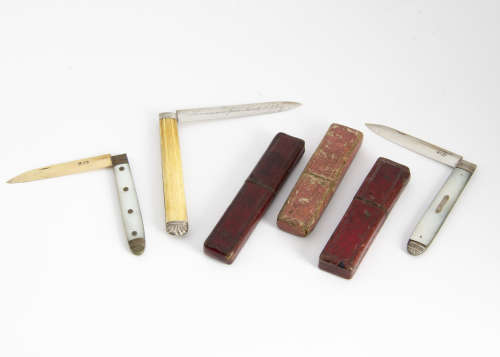 Three George III and later silver bladed folding pocket fruit knives, each with a card box, one with