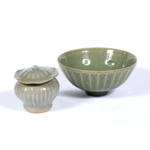 Longquan bowl Chinese, Southern Song style with leaf moulding 14cm high and a small lotus Longquan