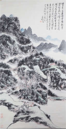 CHINESE INK AND COLOR PAINTING OF LANDSCAPE BY HUANG BINHONG