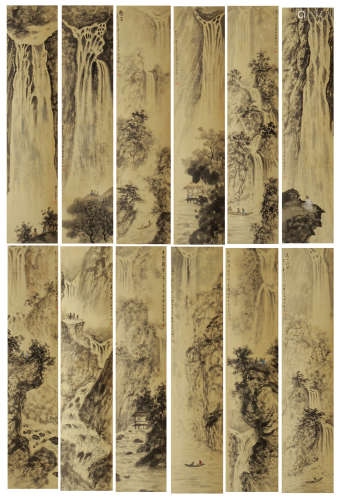 SET OF 12 CHINESE PAINTING OF MOUTAIN VIEWS BY FU BAOSHI