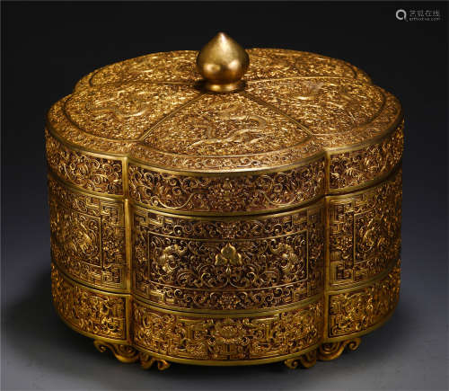 CHINESE GILT BRONZE DRAGON PATTERN LIDDED BOX