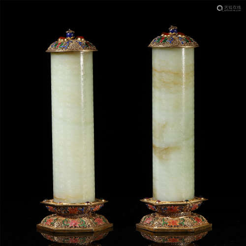 A PAIR OF CHINESE JADE CARVED GEM STONE INLAID BUDDHIST BOOKLET POT