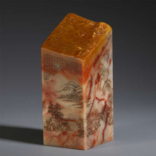 CHINESE CHICKEN BLOOD STONE CARVED LANDSCAPE & POEM SEAL