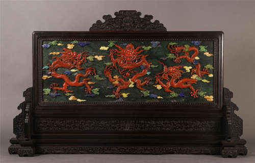 A LARGE CHINESE ROSEWOOD CARVED GEM STONE INLAID TABLE SCREEN