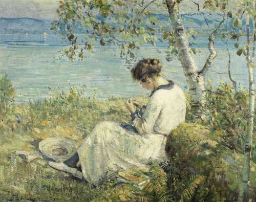 Franklin Peleg Brownell, RCA (Canadian/American, 1857-1946) Sewing under the trees