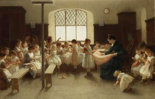 John Morgan, RBA (British, 1823-1886) The Sewing Class