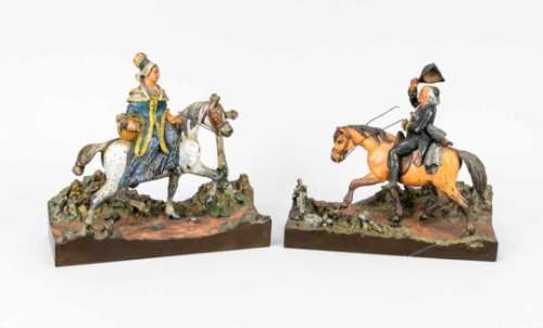 Viennese sculptors of the 19th century, pair of equestrian figures with a youngBiedermeier lady