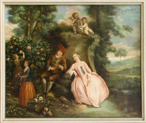 Anonymous painter of the late 18th century, gallant couple at a fountain in an idyllicparkland