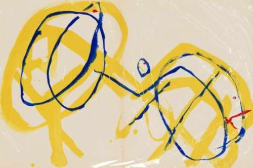 Pierre Tal-Coat (1905-1985): abstract motif in yellow, red and blue. Color lithograph,1960,