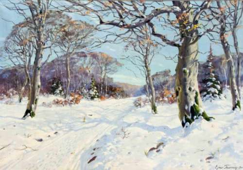 Ejnar Thornvig, Danish painter of the 20th century, snow-covered winter landscape, oil oncanvas,