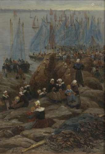 Alfred GUILLOU (1844 1926) Bretonnes à Concarneau …