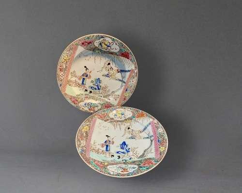 A Pair of Famille-Rose 'Romance of the Western Chamber' Plates, Yongzheng Period 清雍正 粉彩西厢记人物折腰盘 一对