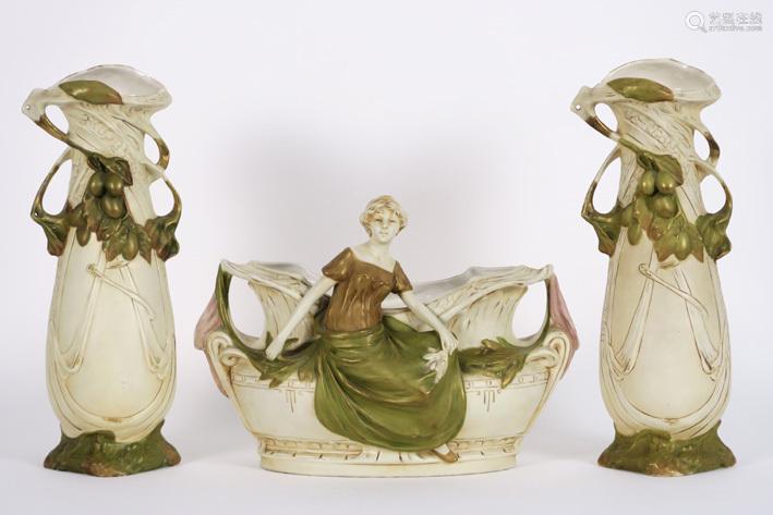 ROYAL DUX three piece Art Nouveau wardrobe set wit…