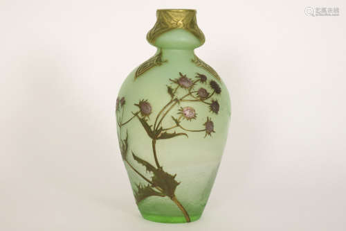 MONT JOYE (Legras) beautiful Art Nouveau vase in g…