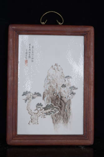 FAMILLE ROSE LANDSCAPE CERAMIC PAINTING BY WANG XI LIANG