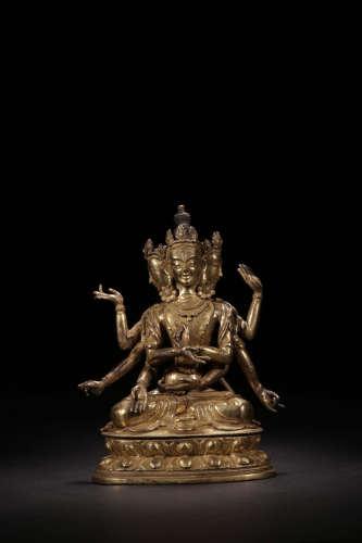 A BRONZE FIGURE OF 3 FACES 6 ARMS GUNYIN BUDDHA QING DYNASTY