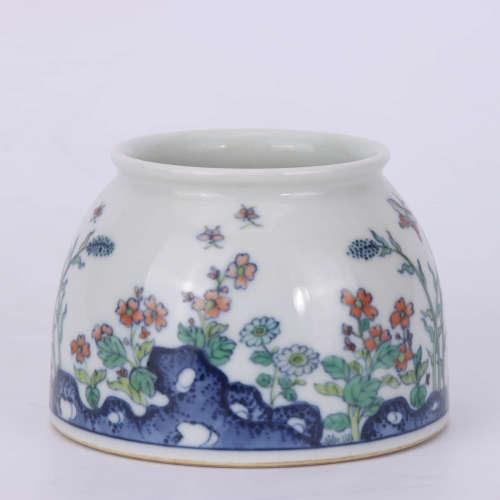 A Chinese Doucai Floral Porcelain Water Pot