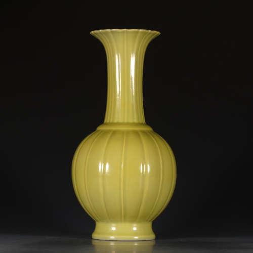 A Chinese lemon Color Glazed Porcelain bottle