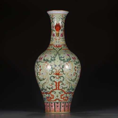 A Chinese Famille Rose Gild Floral Porcelain Vase