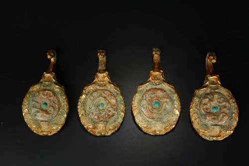 A Chinese Gild Bronze Belt Hook