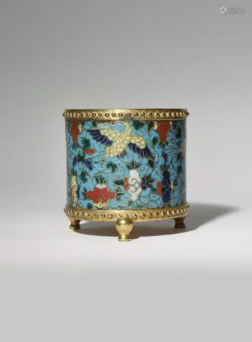 A CHINESE CLOISONNE 'CRANES' INCENSE BURNER MING DYNASTY The cylindrical body decorated with four