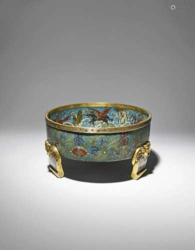 *A LARGE CHINESE CLOISONNE CIRCULAR BASIN QIANLONG 1736-95 With shou characters above lotus blooms