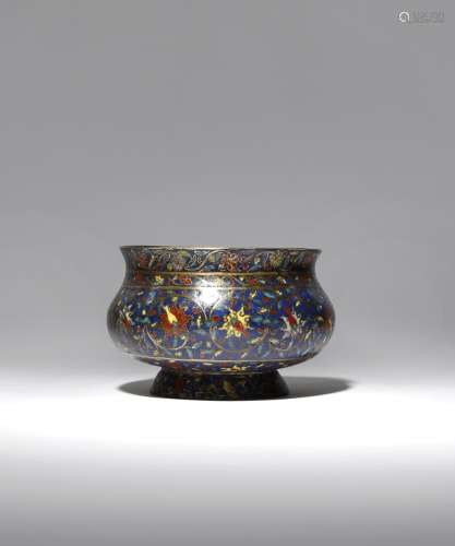 A CHINESE CLOISONNE 'LOTUS' INCENSE BURNER MING DYNASTY The bombι-shaped body decorated with